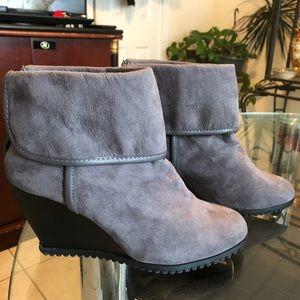 CATO Grey Wedge Booties